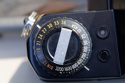 A Yashica FR with both ASA and DIN markings