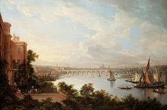 A prospect of London by Alexander Nasmyth, 1826. The Adelphi Buildings can be seen to the left of Waterloo Bridge.