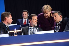 European People's Party (EPP) Congress in Bucharest in 2012. Three conservative leaders in the EPP included Prime Minister of Spain Mariano Rajoy (2011-18), Chancellor of Germany Angela Merkel and Prime Minister of Hungary Viktor Orbán.