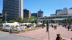 The Occupy Auckland protest camp in Aotea Square, Auckland, on 16 November 2011