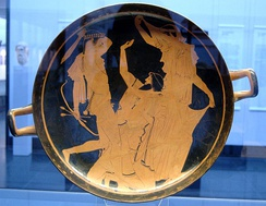 Apollo slaying Tityos, Attic red-figure kylix, 460–450 BC