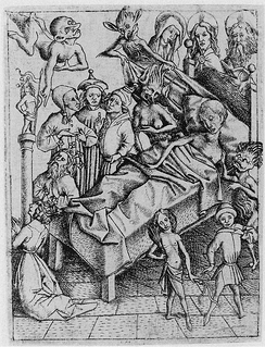 Temptation of lack of Faith; engraving by Master E. S., circa 1450