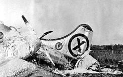 A photo-reconnaissance B-29 that crash-landed at Iruma Air Base, Japan after being severely damaged by MiG-15 fighters over the Yalu River; the B-29's tail gunner shot down one of the attackers (9 November 1950)[22]