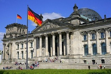 The restored Reichstag in Berlin, housing the German parliament. The dome is part of Foster's redesign.
