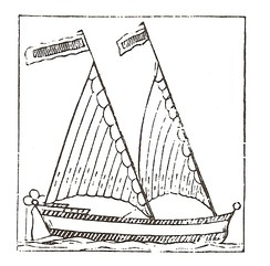 A 17th-century woodcut of a triangular-sailed Bermudian vessel. Its raked masts were a development of the lateen.
