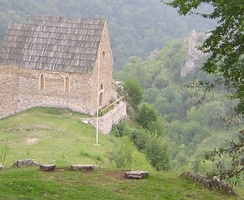 A reconstructed chapel in Bobovac which housed a burial vault of the Kotromanić royal family