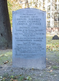 Boston Massacre grave marker in the Granary Burying Ground