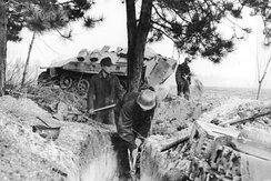 RAD members digging a trench for a RAD flak battery in March 1945