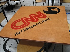 The CNN International logo on a table viewed inside the CNN Center in Atlanta. These tables have since been removed.