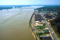 Waterfront of Cape Girardeau along the Mississippi River during the Great Flood of 1993.