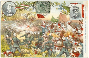 Propaganda postcard made by Italian Army depicting the invasion of Libya during the Italo-Turkish War.