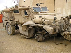 Cougar hit by mine explosion, all crew survived, vehicle drove back to base on 3 wheels