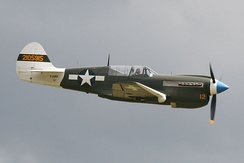 "Curtiss P-40N Warhawk ""Little Jeanne"" in flight."