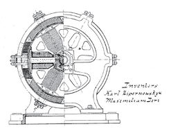 """Dynamo Electric Machine"" (end view, partly section, U.S. Patent 284,110)"