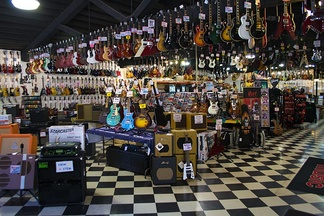 An electric guitar store
