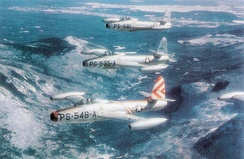 49th Fighter Squadron F-84B Thunderjets in formation, March 1948.