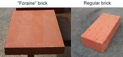 "Format differences between a ""foraine"" brick and a standard brick."