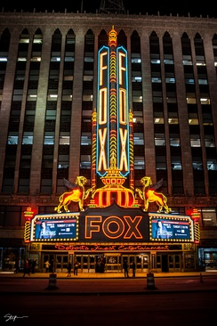 Fox Theatre at night with new LED lights in Downtown Detroit