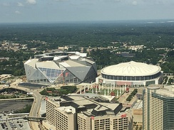 The Georgia Dome (right) and Mercedes-Benz Stadium on July 2, 2017
