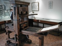Reproduction of Johannes Gutenberg-era Press on display at the Printing History Museum in Lyon, France.