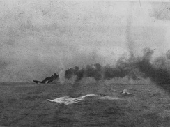 HMS Indefatigable sinking after being struck by shells from SMS Von der Tann