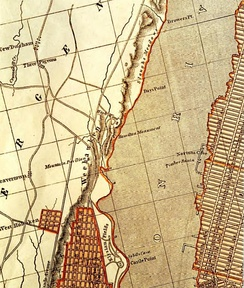 1841 map of parts of Hudson and New York Counties, and the Hudson River