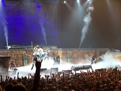 Iron Maiden performing in Toronto during the Somewhere Back in Time World Tour 2008. The stage set largely emulated that of the World Slavery Tour 1984–85.[144]