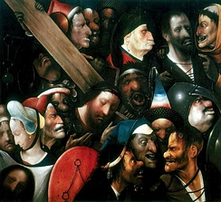 """Christ carrying the cross"", attributed to Hieronymus Bosch; in the lower-left corner: Veronica with the veil"