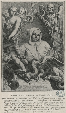 "Contemporary portrait engraving of 17th century sorceress and poisoner Catherine Monvoison ""La Voisin"" - Guillaume Chasteau after Antoine Coypel"