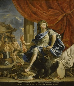 1655 portrait of Louis, the Victor of the Fronde, portrayed as the god Jupiter