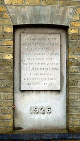 Plaque unveiled by Queen Mary on the Queen Mary Wing in 1926