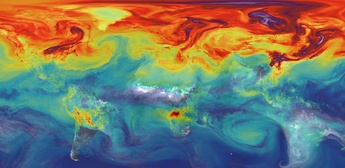 Carbon dioxide in Earth's atmosphere if half of global-warming emissions[43][44] are not absorbed.(NASA simulation; 9 November 2015)