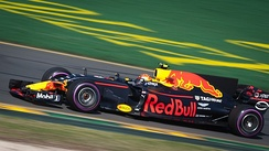 Max Verstappen in the 2017 Formula 1 car of the Red Bull Racing Team
