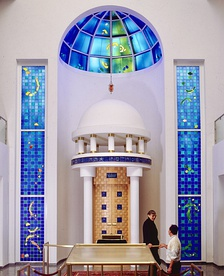 The stained glass windows and dome, and ceramic and carved wood Torah ark of the New Synagogue, Darmstadt, designed by Clarke