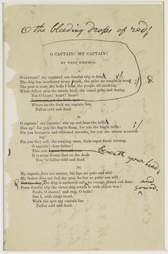 "Whitman's notes for a revision of ""O Captain! My Captain!"""