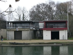 Pembroke College boathouse on the Isis (left, adjoined to St Edmund Hall boathouse)