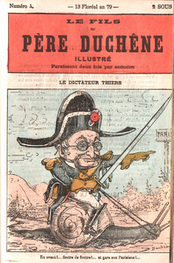 A caricature ridiculing Thiers in a newspaper of the Paris Commune in Le Père Duchêne illustré