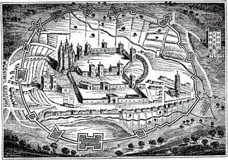 Pontefract Castle in 1648, with civil war fortifications surrounding the old medieval ones.