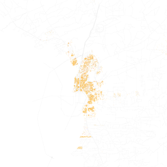 Map of racial distribution in Laredo, 2010 U.S. Census. Each dot is 25 people: White, Black, Asian, Hispanic or Other (yellow)