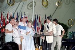 The Beach Boys with President Ronald Reagan and First Lady Nancy Reagan at the White House, June 12, 1983