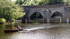 Pleasure boating on the River Wear, close to Elvet Bridge.
