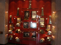 49ers wall of trophies at the Marie P. DeBartolo Sports Center