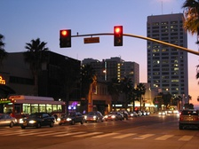 Wilshire Boulevard in downtown Santa Monica at twilight.