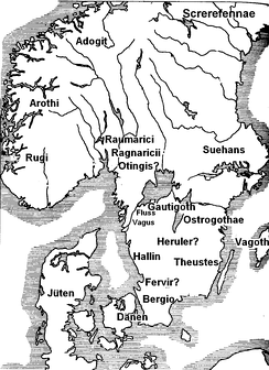Map of Scandza according to Jordanes: the Herulian homeland is located in the south of Sweden or on the Danish isles.
