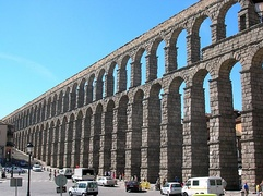 Roman aqueduct in Segovia, Spain.