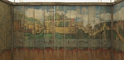 A 19th century painted Sukkah from Austria or South Germany, Painted pine, 220 × 285.5 cm, Musée d'Art et d'Histoire du Judaïsme
