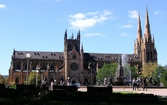 St. Mary's Cathedral, Sydney has a typical cruciform plan.