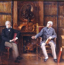 The duc d'Aumale with a friend in his study at Chantilly