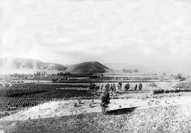 View to the west-southwest down San Jose Creek from Pomona Park (now Ganesha Park) in 1904.  Elephant Hill is in the center distance.
