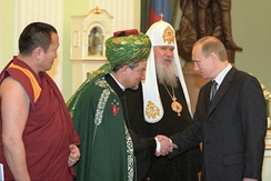 Russian President Vladimir Putin with religious leaders of Russia, 2001. Putin has promoted religious traditionalism and the rejection of some Western liberal principles, like toleration of homosexuality.